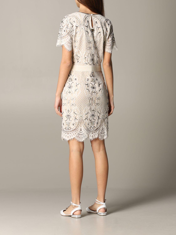 Платье с коротким рукавом Женское Twin Set сливки 2