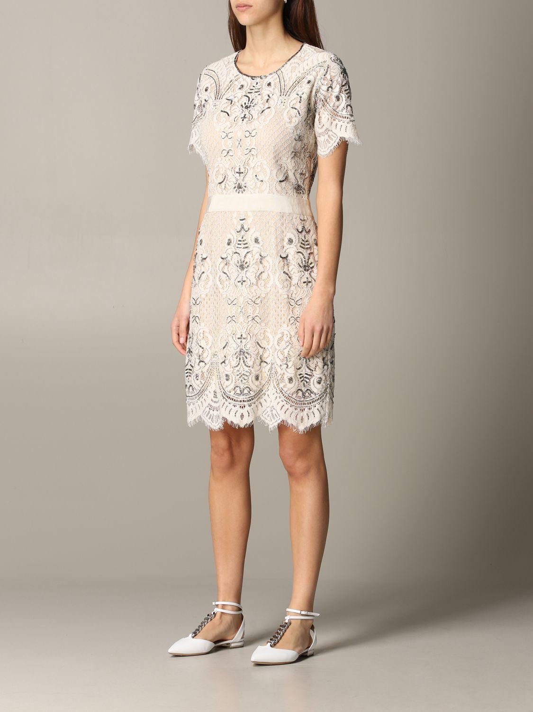 Платье с коротким рукавом Женское Twin Set сливки 3