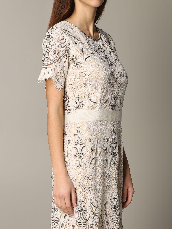 Платье с коротким рукавом Женское Twin Set сливки 4