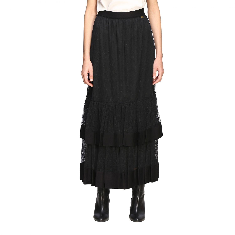 Twin Set 网纱长款半身裙 黑色 1