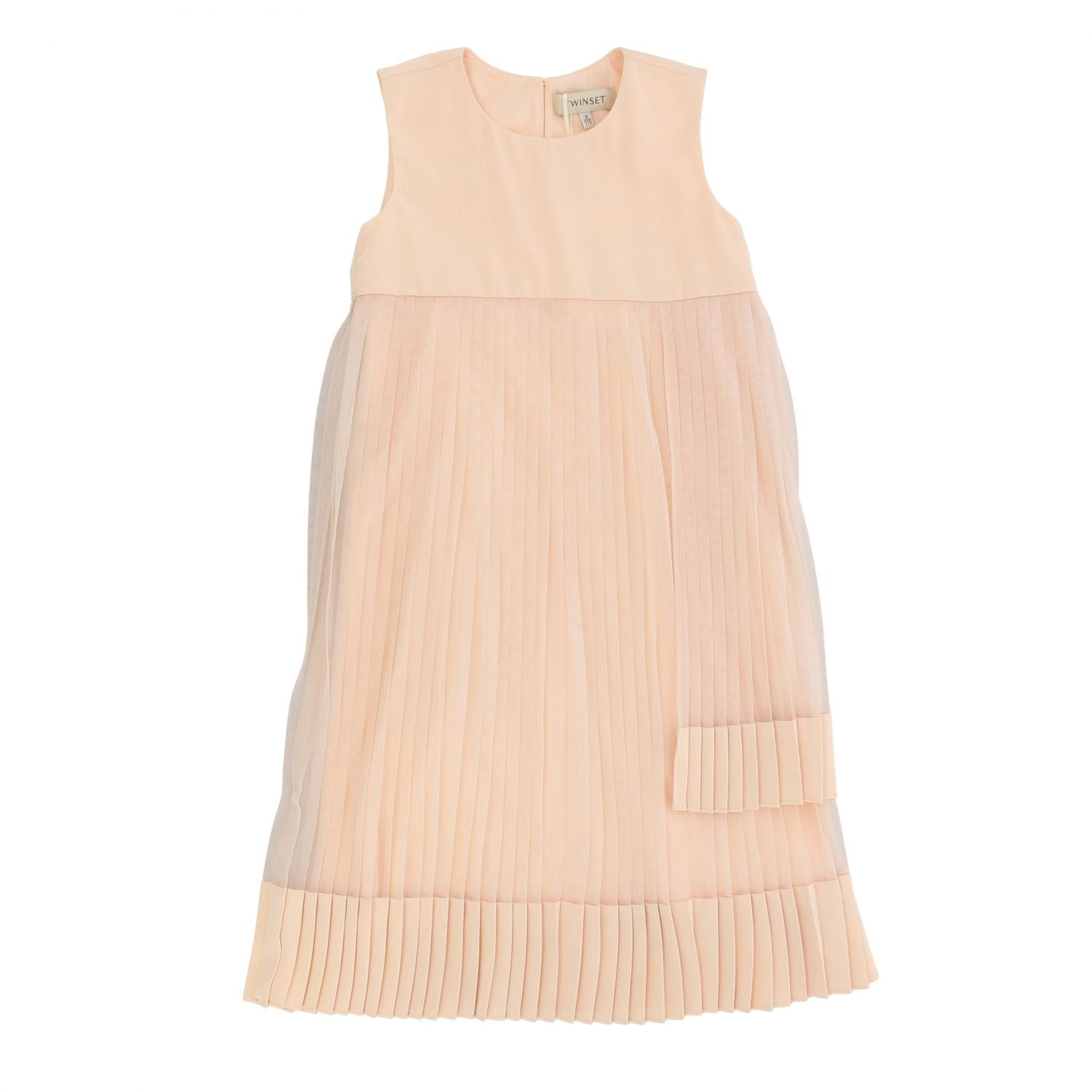 Twin-set dress in pleated tulle pink 1