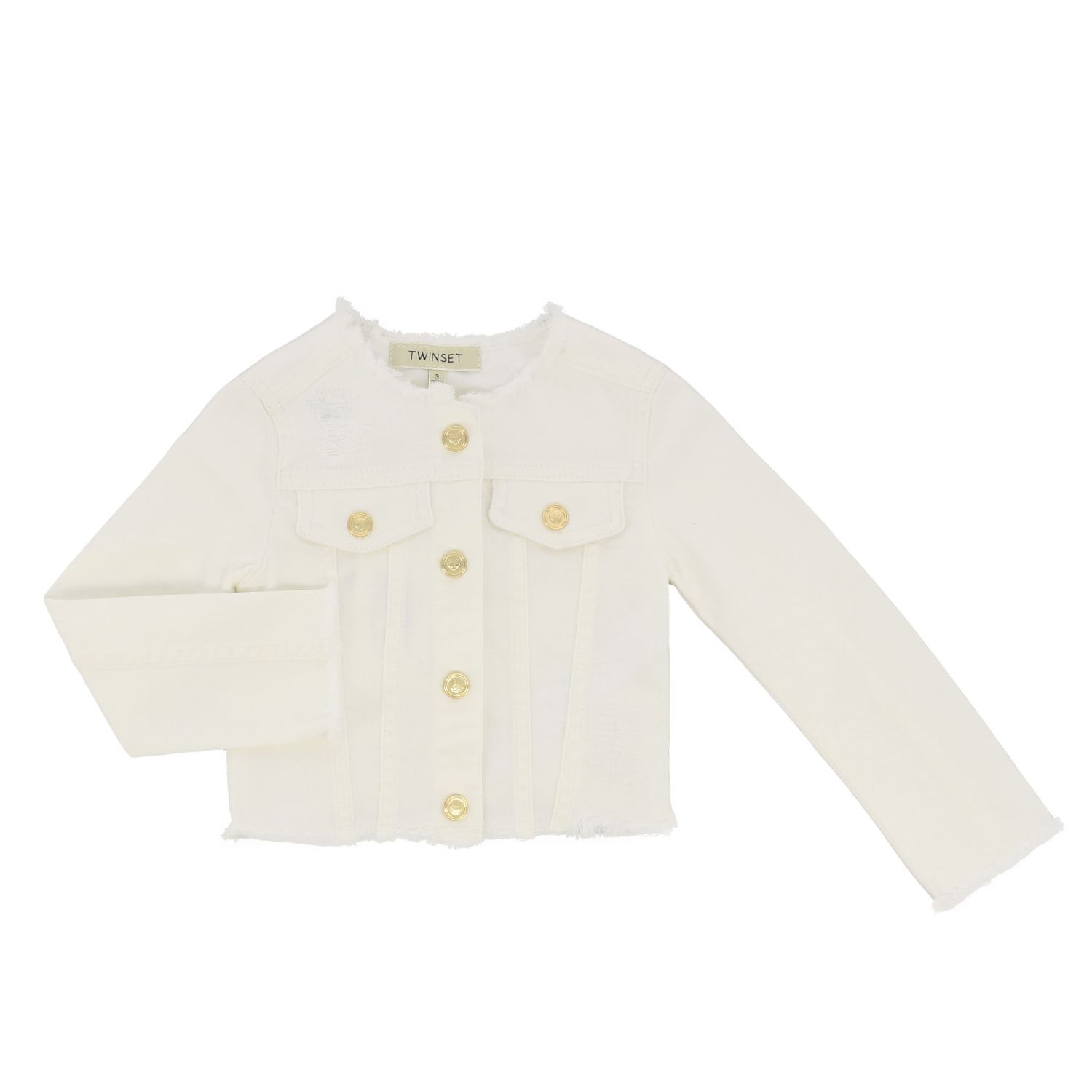 Twin-set bull jacket with metal buttons white 1