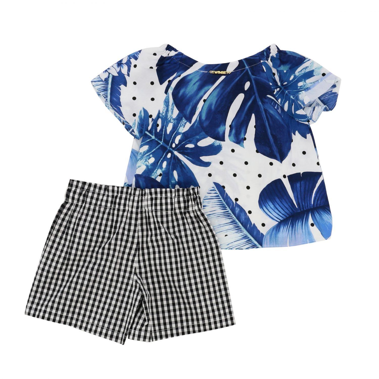 Twin Set 格纹叶子印花上衣短裤套装 蓝色 2