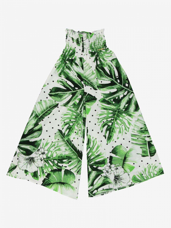 Breite Twin-Set Hose mit Blattmuster grün 1