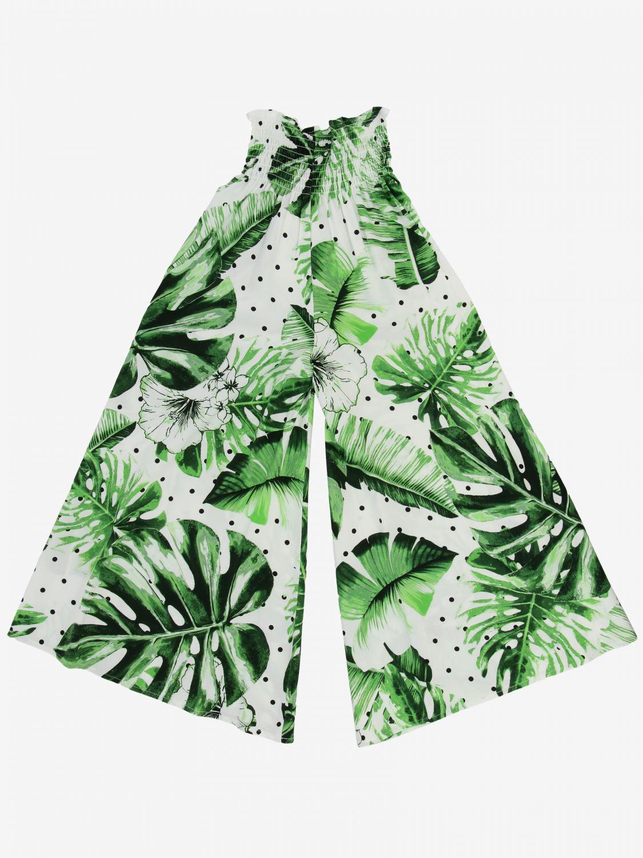 Breite Twin-Set Hose mit Blattmuster grün 2