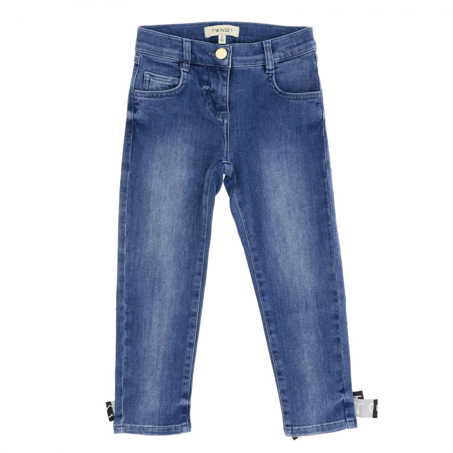 Twin-set jeans in used denim with bows denim 1