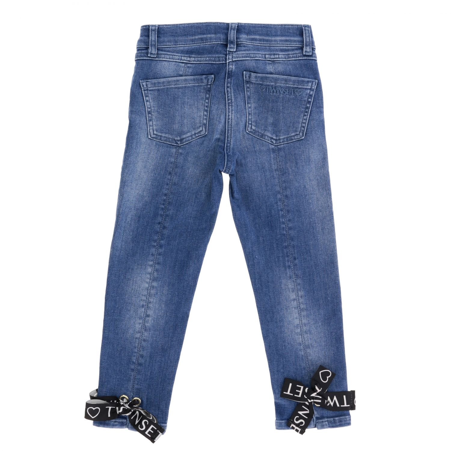 Twin-set jeans in used denim with bows denim 2
