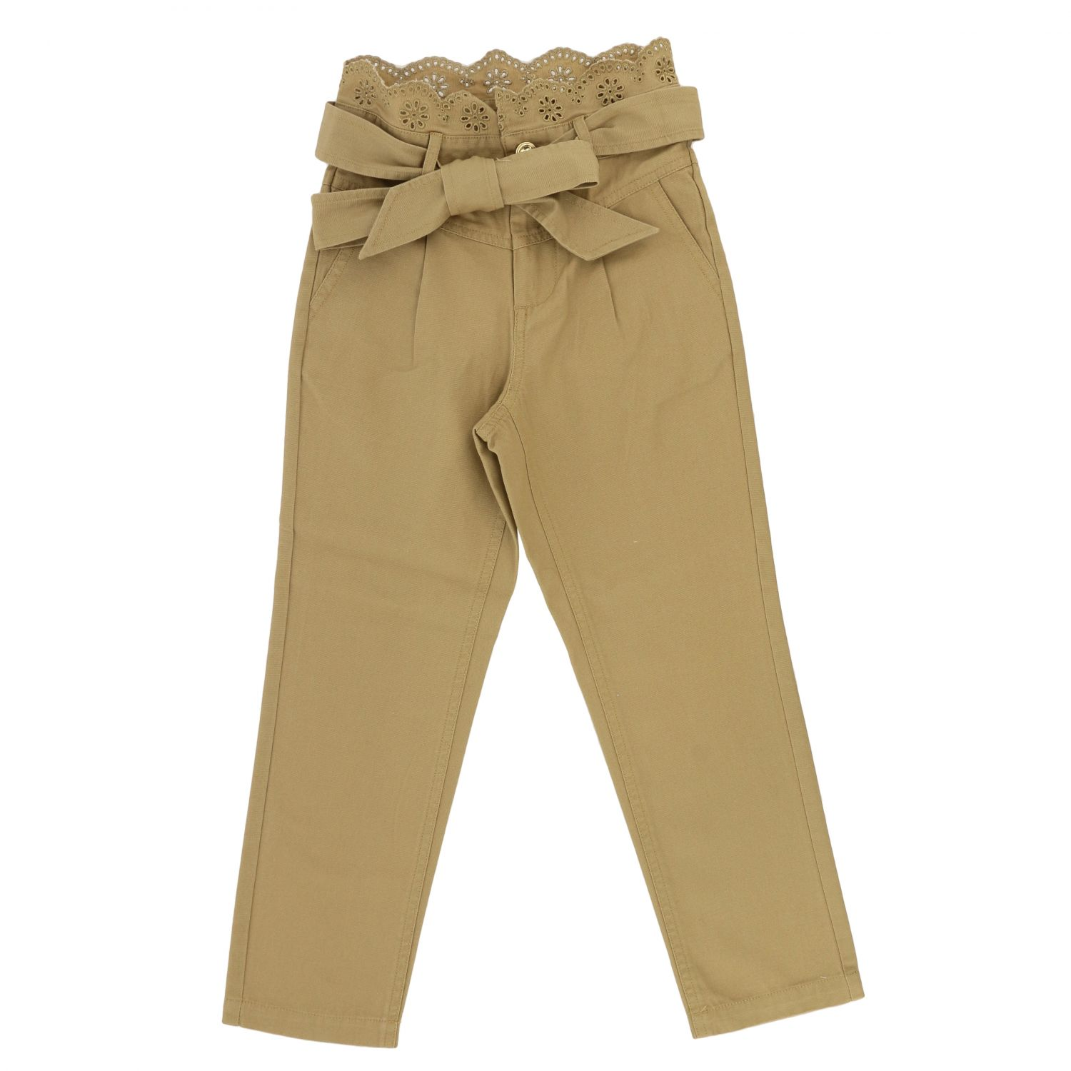 Pants Twin Set: Twin-set trousers with Sangallo details beige 1