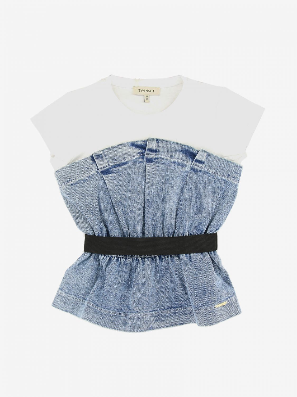 Twin-Set T-Shirt mit Denim Print und Gürtel denim 1