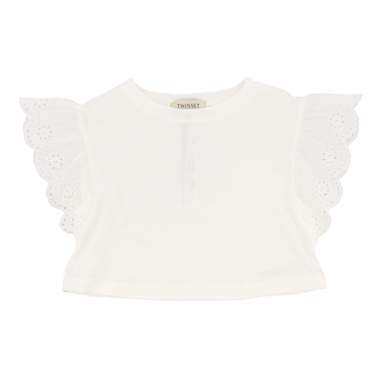 Блузка Twin Set: Блузка с рюшами на рукавах Детское Twin Set белый 1