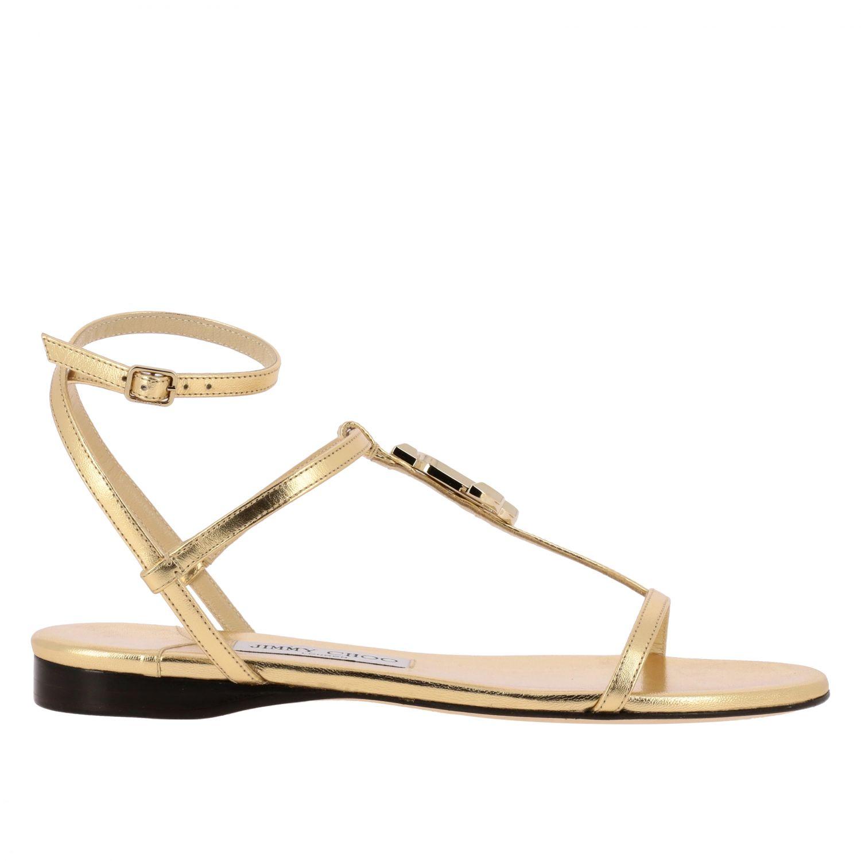 Alodie Jimmy Choo flat leather sandal