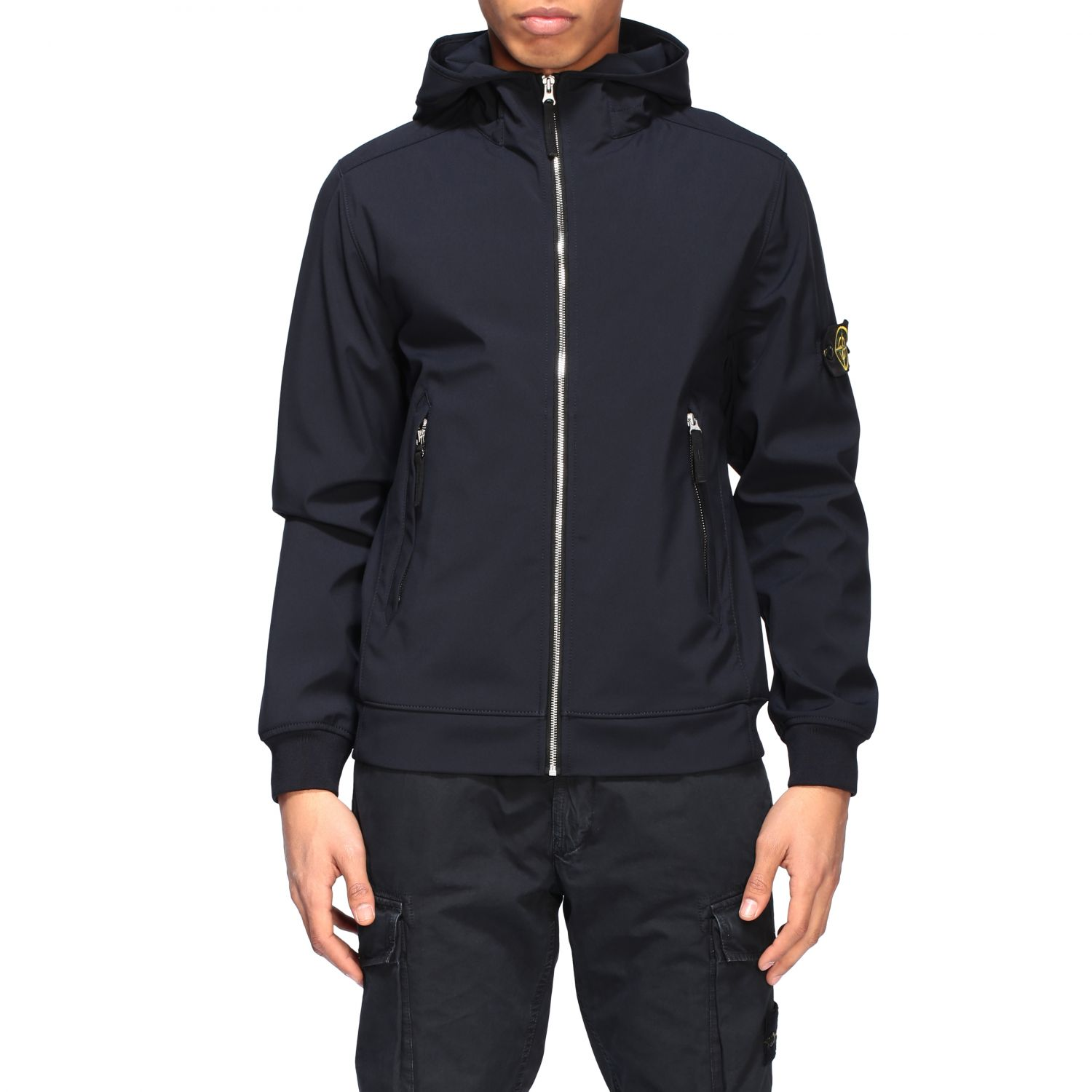 Stone Island soft shell light jacket with hood navy 1