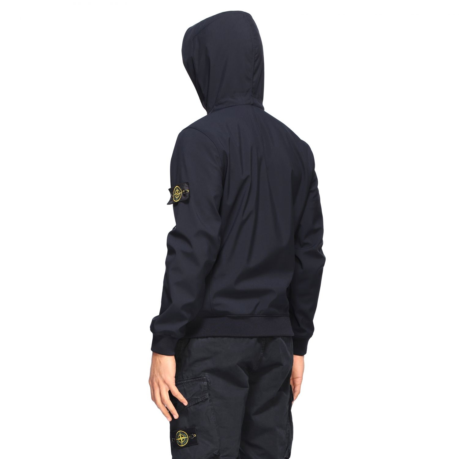 Giacca Soft shell light Stone Island con cappuccio blue navy 3