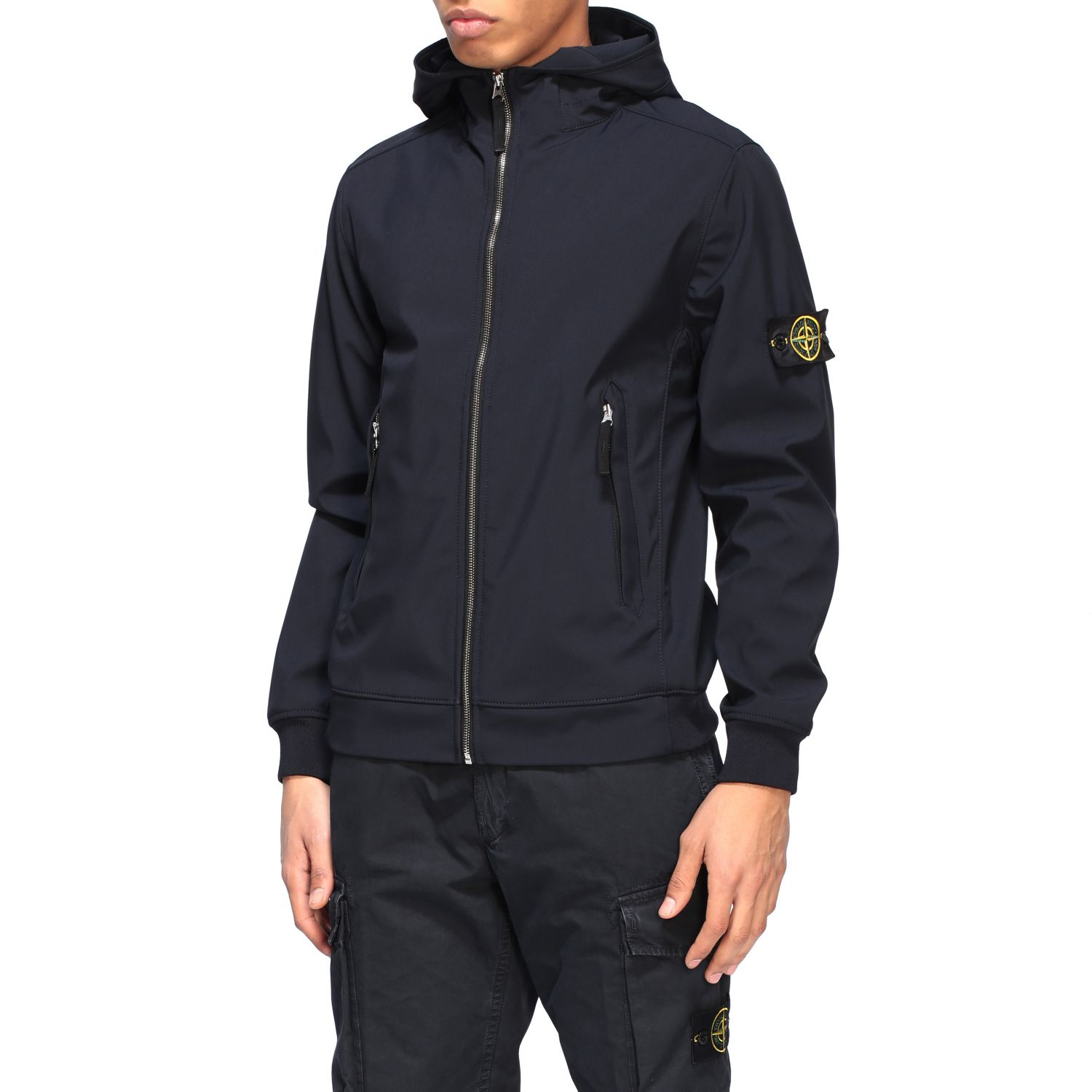 Stone Island soft shell light jacket with hood navy 4
