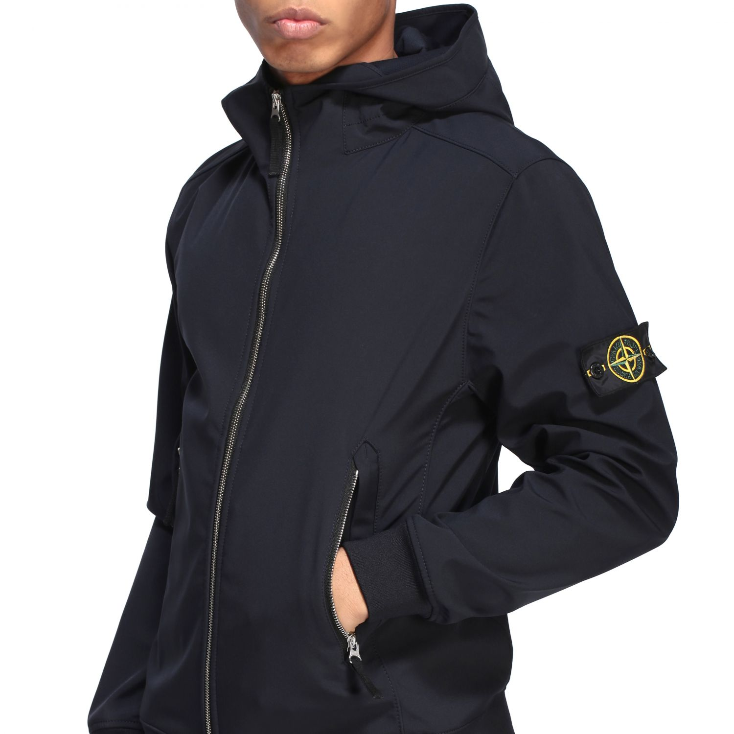 Stone Island soft shell light jacket with hood navy 5
