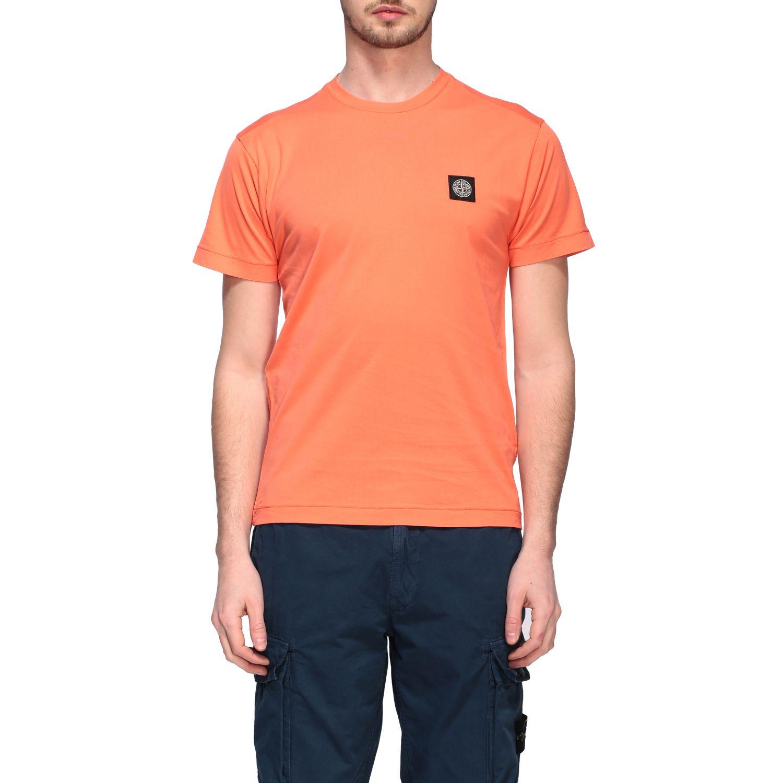 Stone Island logo圆领T恤 橙色 1
