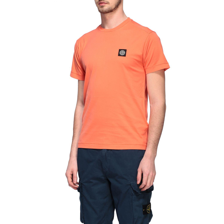 Stone Island logo圆领T恤 橙色 4