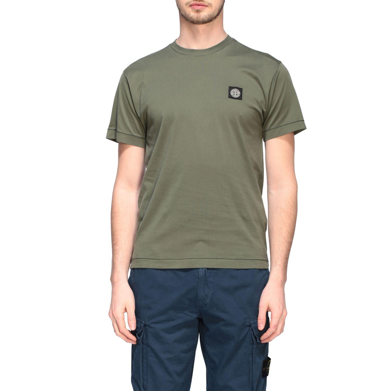 T-shirt Stone Island a girocollo con logo oliva 1