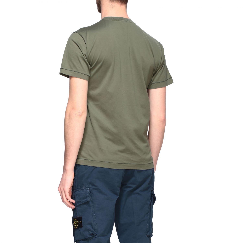 T-shirt Stone Island a girocollo con logo oliva 3
