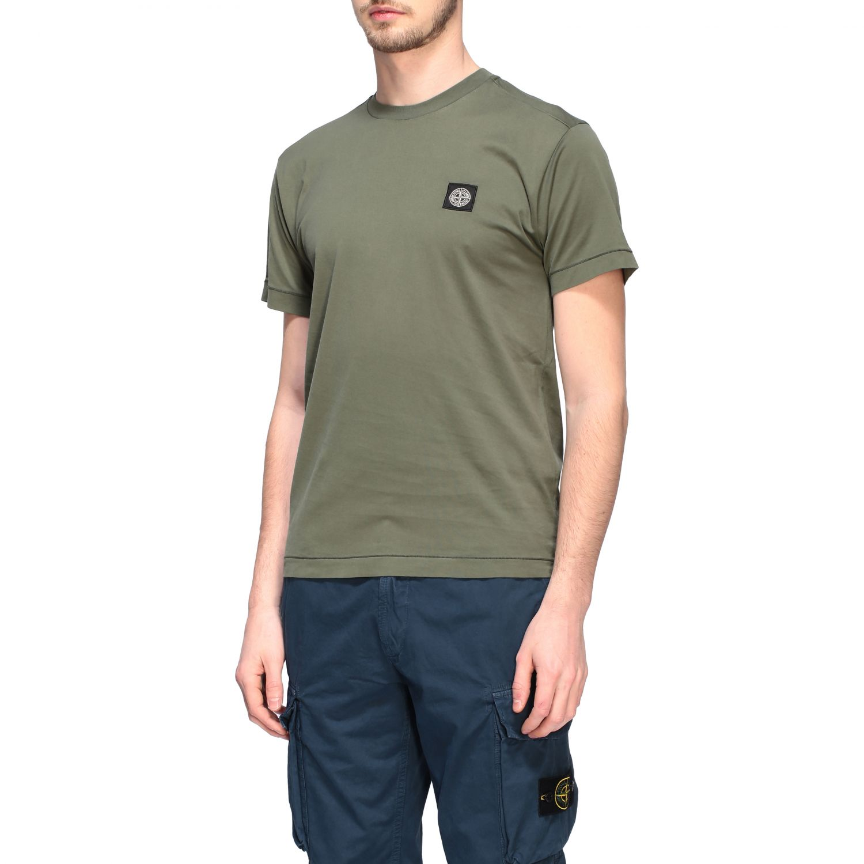 T-shirt Stone Island a girocollo con logo oliva 4