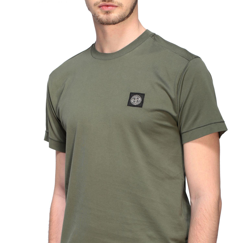 T-shirt Stone Island a girocollo con logo oliva 5