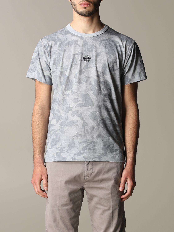 T-shirt camouflage Stone Island avec logo gris 1