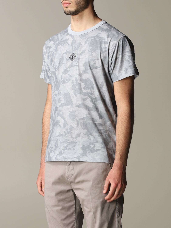 T-shirt camouflage Stone Island avec logo gris 4