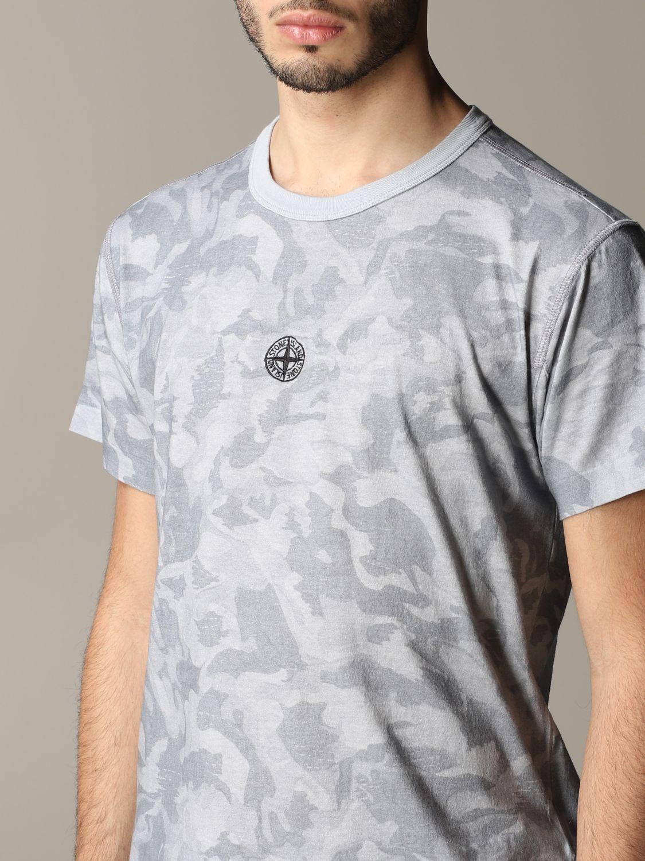 T-shirt camouflage Stone Island avec logo gris 5
