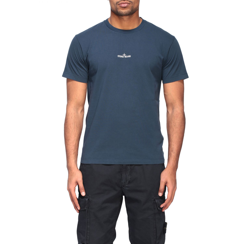 Stone Island crew neck t-shirt with logo blue 1