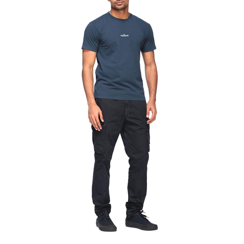 Stone Island crew neck t-shirt with logo blue 2