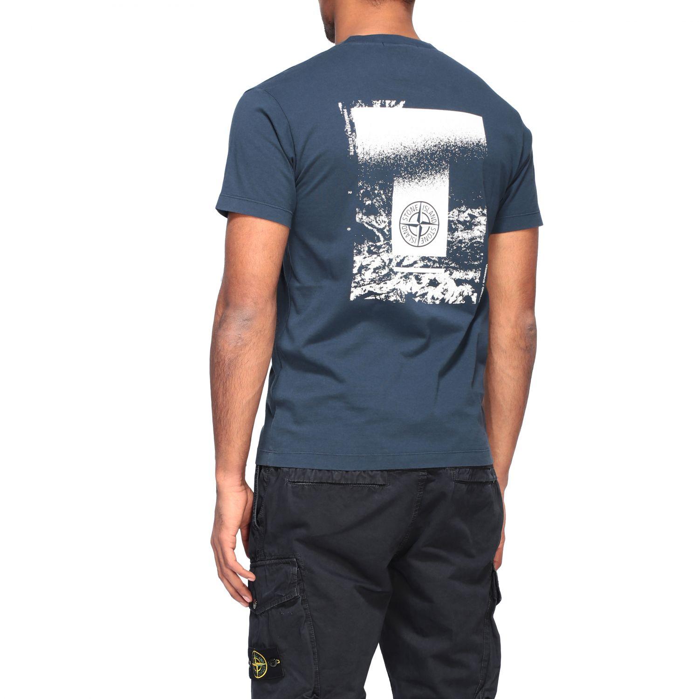Stone Island crew neck t-shirt with logo blue 3