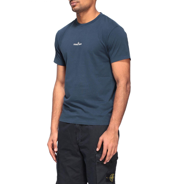 Stone Island crew neck t-shirt with logo blue 4