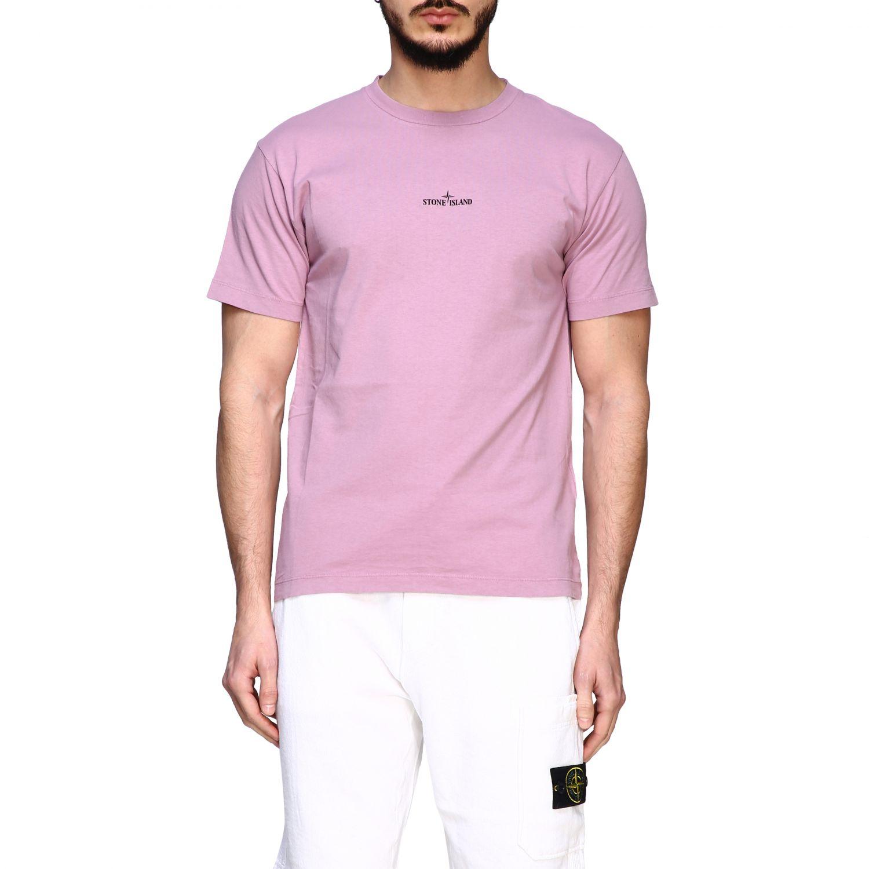 Stone Island crew neck t-shirt with logo pink 1