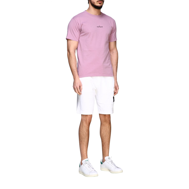 Stone Island crew neck t-shirt with logo pink 2