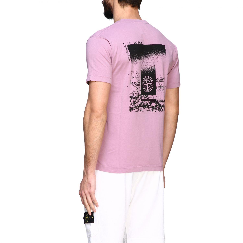 Stone Island crew neck t-shirt with logo pink 3