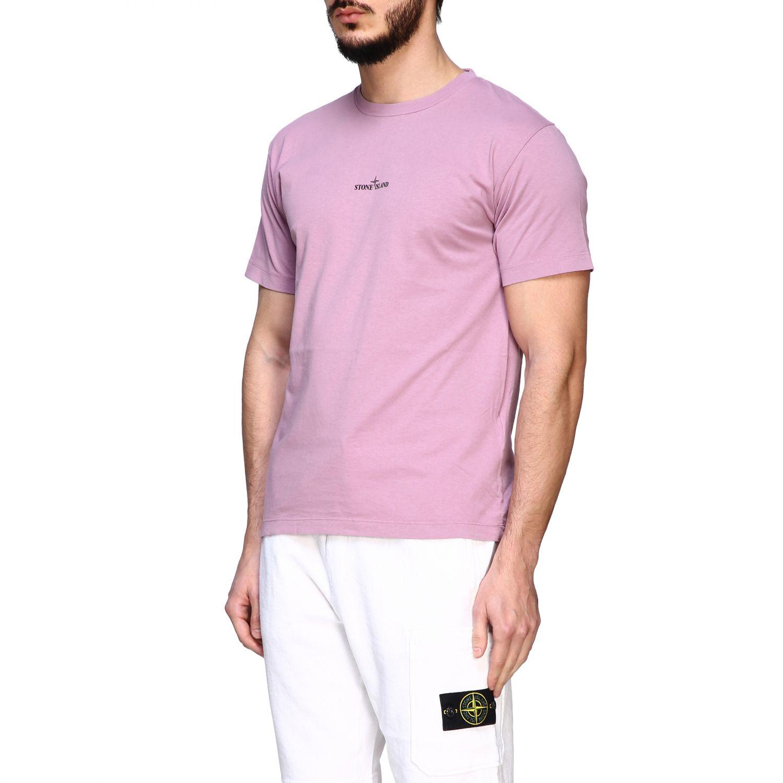 Stone Island crew neck t-shirt with logo pink 4