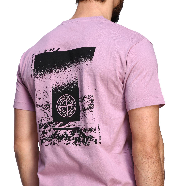 Stone Island crew neck t-shirt with logo pink 5