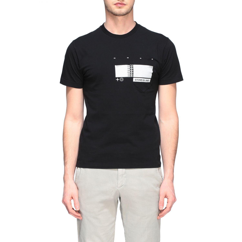 T-shirt Stone Island a maniche corte con stampa nero 1