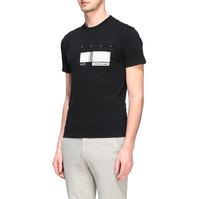 T-shirt Stone Island a maniche corte con stampa nero 4