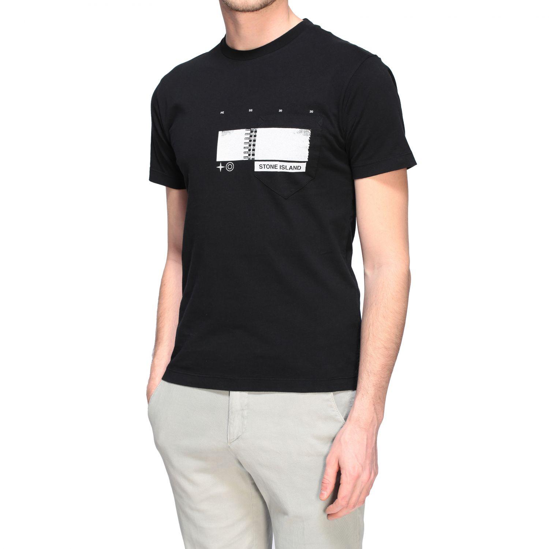 T-shirt Stone Island a maniche corte con stampa nero 5