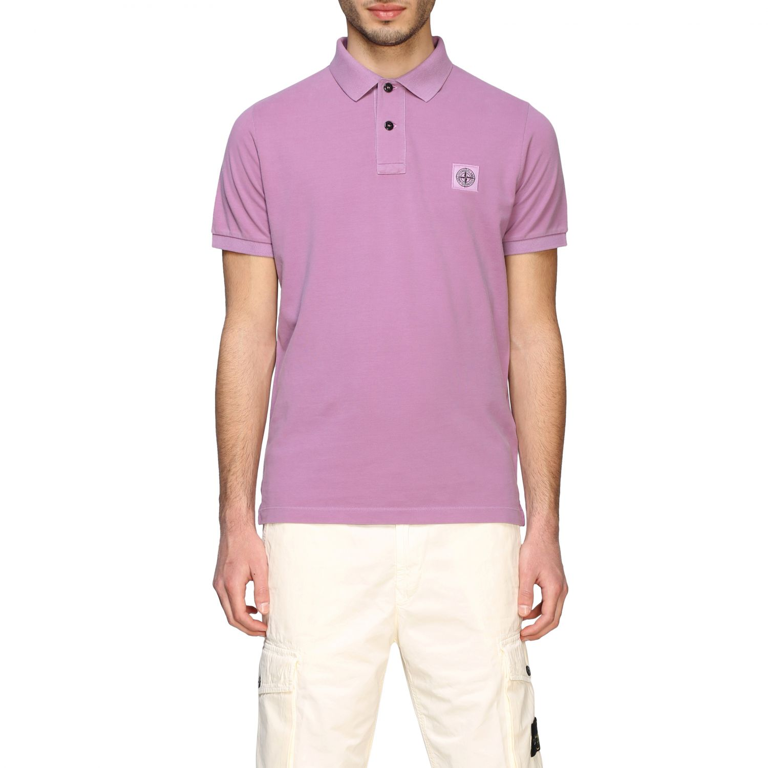 Stone Island short-sleeved polo shirt pink 1