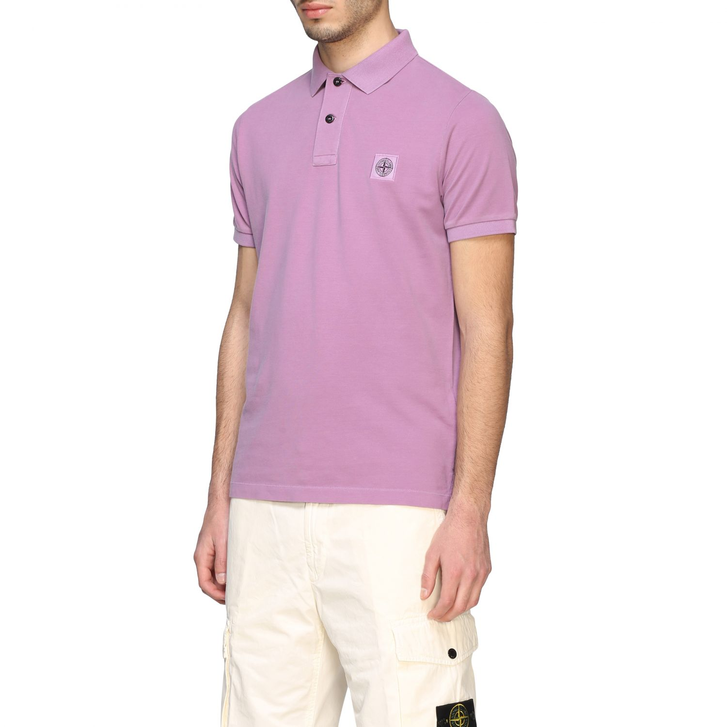 Stone Island short-sleeved polo shirt pink 4