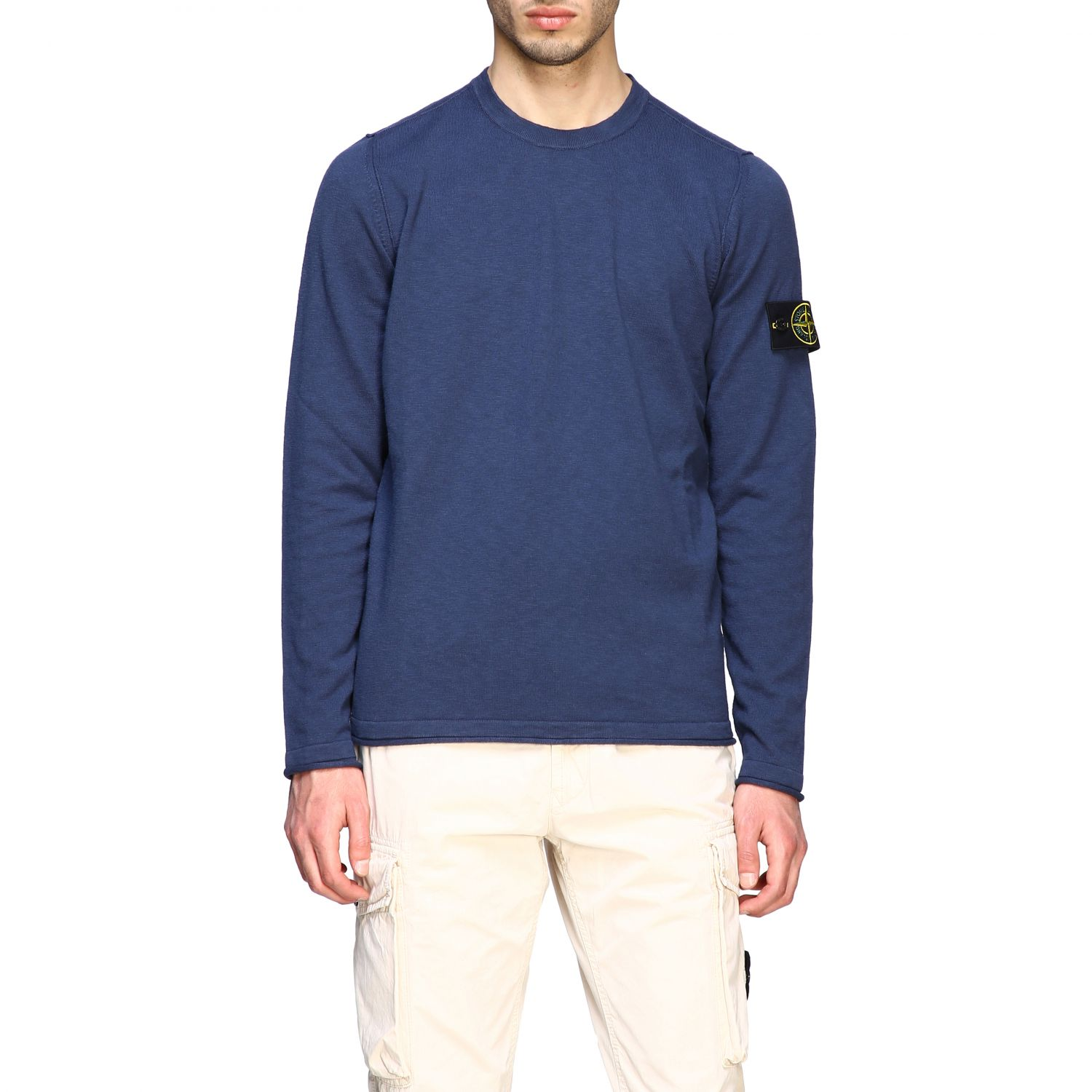 Stone Island crewneck sweater with logo blue 1
