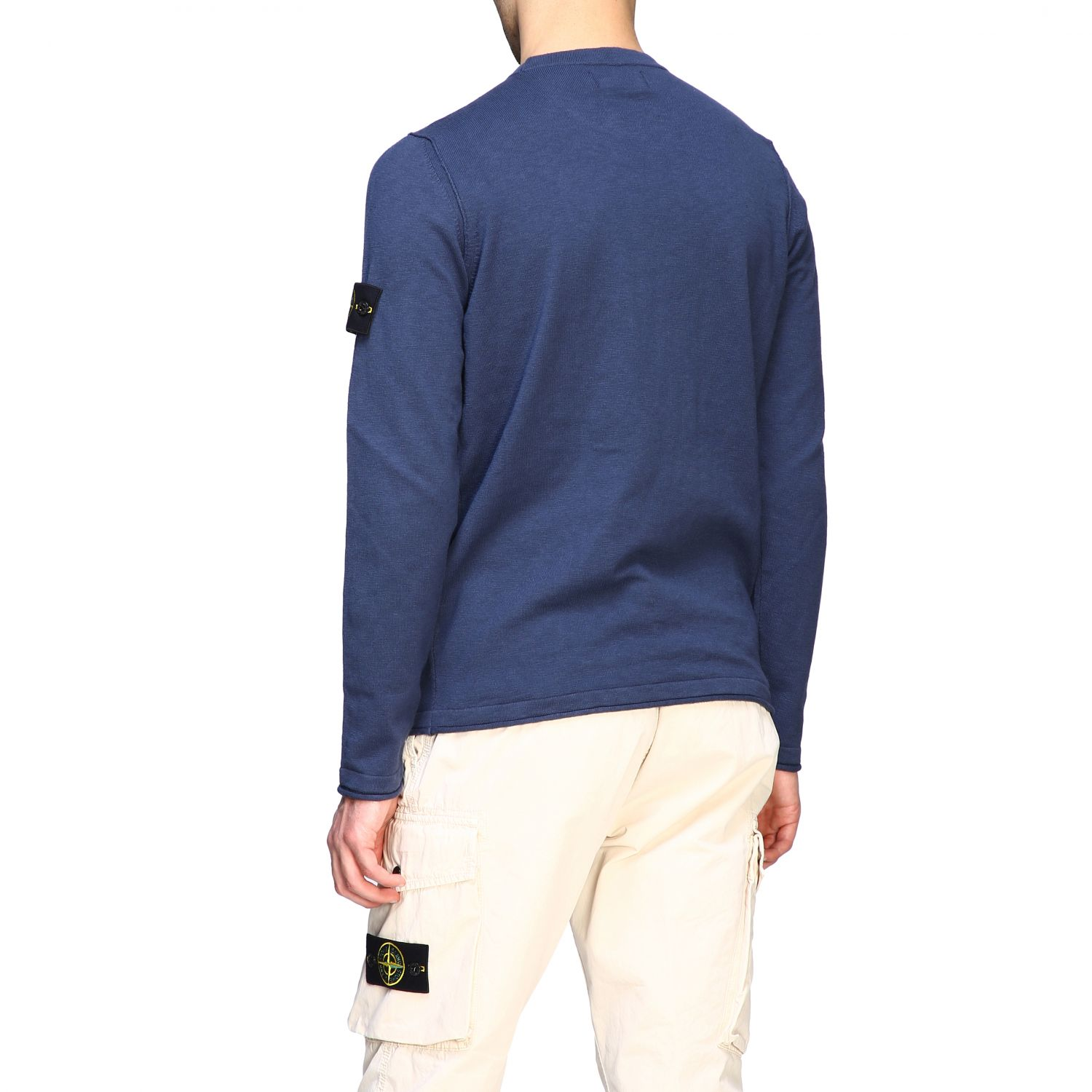 Stone Island crewneck sweater with logo blue 3