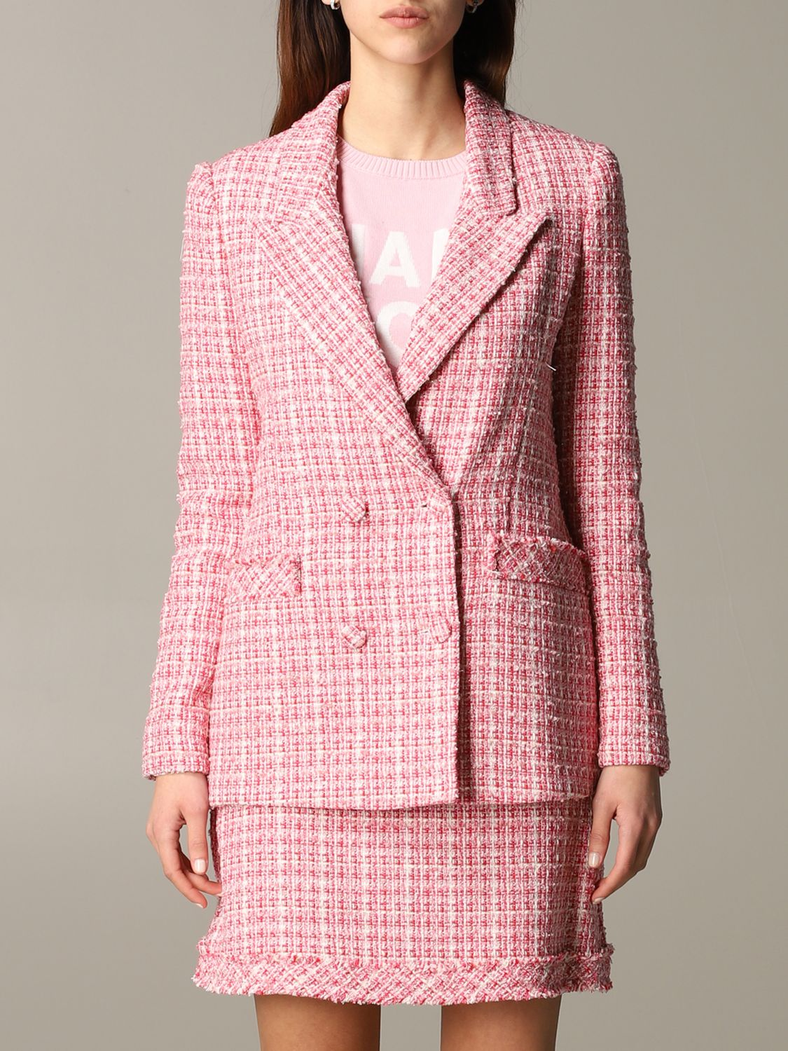 Be Blumarine double-breasted bouclé jacket pink 1