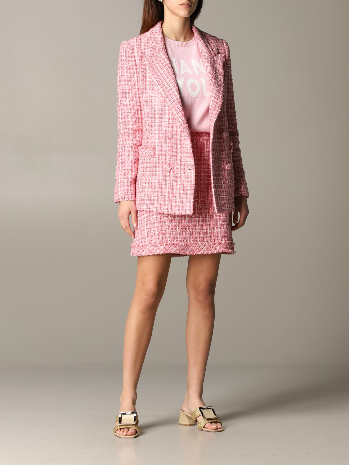 Be Blumarine double-breasted bouclé jacket pink 2