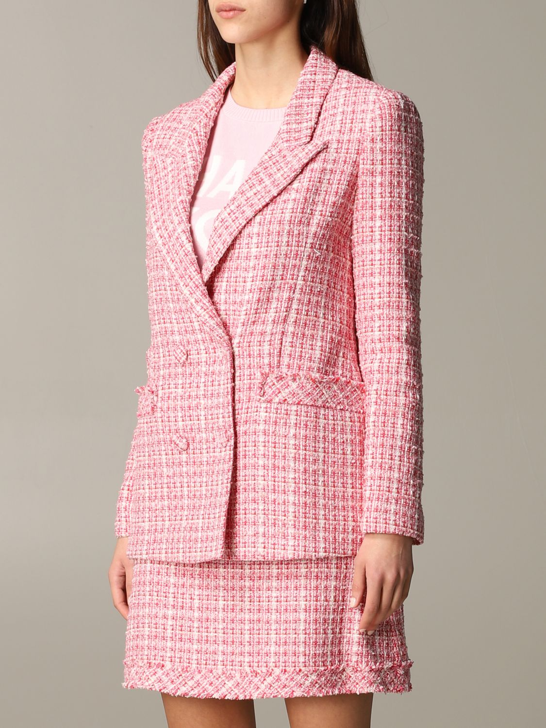 Be Blumarine double-breasted bouclé jacket pink 4