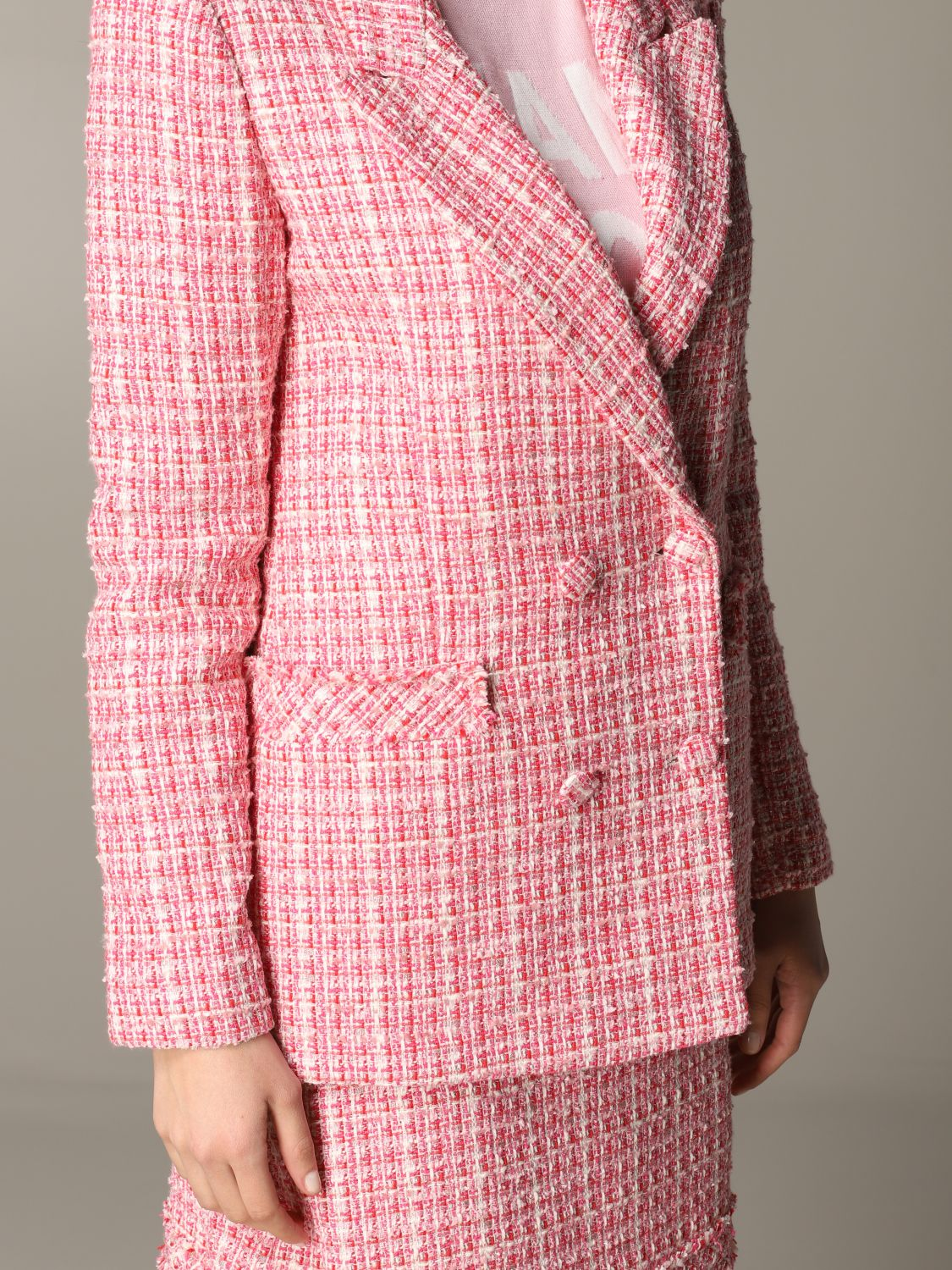 Be Blumarine double-breasted bouclé jacket pink 5