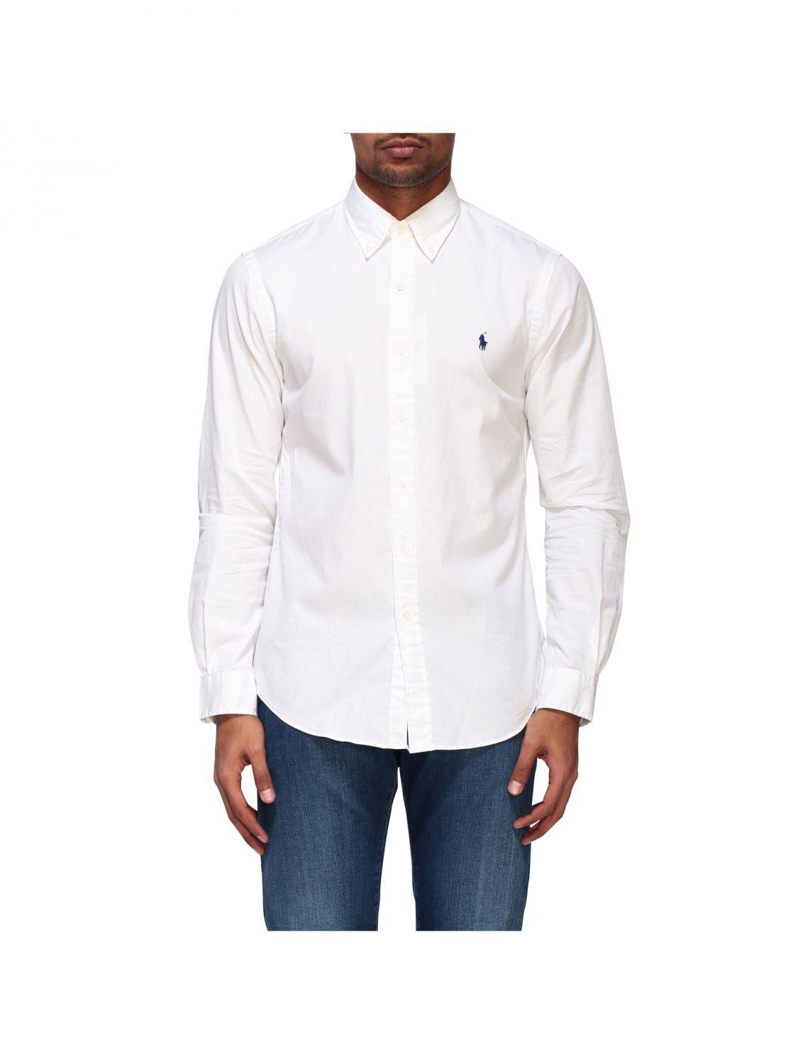 Camicia Polo Ralph Lauren in cotone con collo button down bianco 1