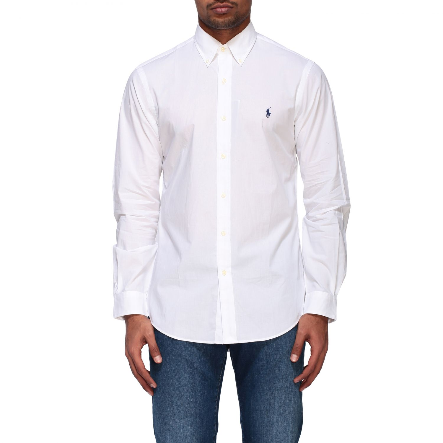 Camicia Polo Ralph Lauren in popeline con collo button down bianco 1